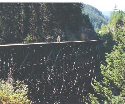 Couple on Trestle #7. A couple on Trestle #7 before the railings were added.