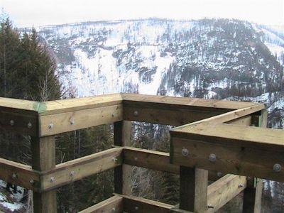 Detail of Trestle 3 viewpoint. This photo, taken March 22, 2006, shows the detail of a small viewing area on the edge of Trestle 3. In early days, water barrels were placed on outriggers from the trestle to be used in case of fire.