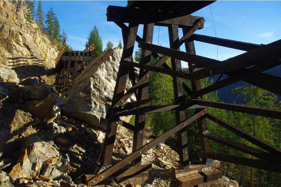 Trestle #3 seen partially dissembled from below during the reconstruction process.Photo by Dave Richmond, BC Parks.(click image to enlarge)
